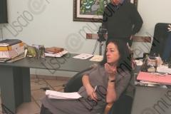"""FAENZA (RAVENNA). UFFICI DELLA CASA DISCOGRAFICA ED EDIZIONI MUSICALI """"GALLETTI BOSTON"""". INTERVISTA AD ANNA GALLETTI CHE INSIEME ALLA SORELLA ALESSANDRA DIRIGE LA CASA DISCOGRAFICA. GALLETTI BOSTON E' SPECIALIZZATA NELLA PRODUZIONE DI MUSICA DI ORCHESTRE DA BALLO E IN PARTICOLARE DI MUSICA LISCIO E FOLK. FOTOGRAFIE REALIZZATE NELL'AMBITO DELLA CAMPAGNA LISCIO@MUSEUM 2009, MUSEO DELLA MUSICA E DEL BALLO TRADIZIONALI ROMAGNOLI. FOLK. SET FOTOGRAFICO, FARI. PAOLA SOBRERO, DIRETTORE DEL LISCIO@MUSEUM E GIUSEPPE PAZZAGLIA. INTERVISTA, CAMERAMAN, TELECAMERA, OPERATORE VIDEO."""